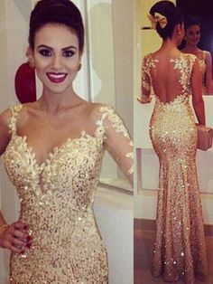 Cheap 2015 Evening Dresses - Discount Sparking Gold Fitted Evening Dresses  2015 Lace Appliques Sheer Long Sleeve Open Back Sequin Prom Dress Party  Ball ... 7f35a28a0198