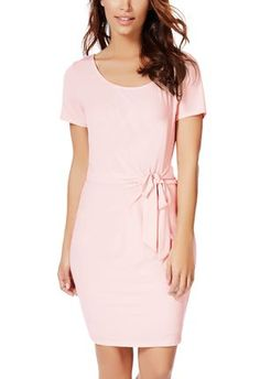 Pastel pink wrap dress. luv this as a simple Easter dress! #justfabapparel