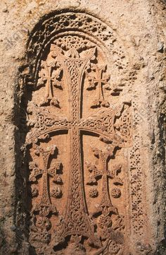Armenia – Geghard Monastery (UNESCO World Heritage List, 2000), founded in the 4th century. Khachkar, carved tombstone.