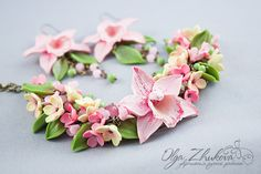 UntitledBracelet and earrings with pink orchids by polyflowers