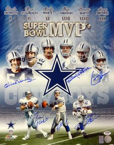 Dallas Cowboys SB MVP's Autographed 16x20 Photo With 6 Signatures Including Emmitt Smith, Aikman, Staubach, White, Howley & Brown PSA/DNA