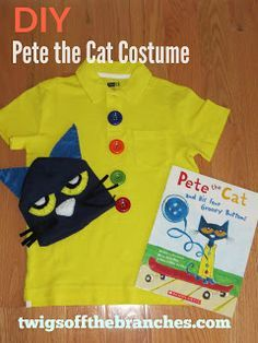 Twigs Off the Branches: Easy DIY Pete the Cat Costume for Book Character Day Buttons can be construction paper, hat can be from dollar store or on a blue construction paper band. Character Day Ideas, Kids Book Character Costumes, Book Characters Dress Up, Book Costumes, Teacher Costumes, Book Week Costume, Storybook Characters, Cat Costumes, Costume Ideas