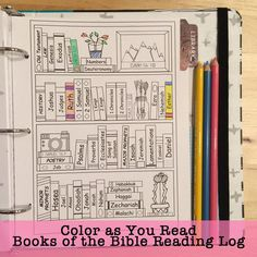 The bible 458030224602831971 - Color as You Read Books of the Bible Reading Log – Bible Journaling Source by Ilona_df Bullet Journal Books, Bible Study Journal, Bullet Journal Ideas Pages, Bullet Journal Inspiration, Book Journal, Reading Tracker, Bibel Journal, Reading Logs, Scripture Cards