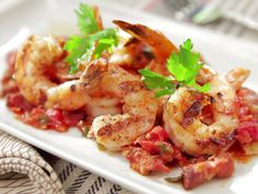 Grilled Shrimp with Bacon, Tomato and Scallion Vinaigrette recipe from Bobby Flay via Food Network