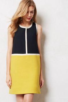 Piped Colorblock Shift by Orla Kiely Simple Dresses, Casual Dresses, Summer Dresses, Work Fashion, Fashion Design, Fashion Trends, Fashion Coat, Cheap Fashion, Dress Outfits