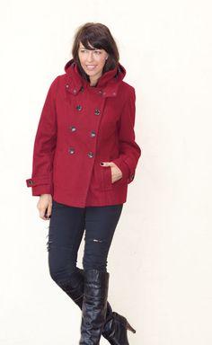 Calvin Klein Coat Cranberry Berry Red Wool Jacket Hooded Winter Coat Size Medium #CalvinKlein #Peacoat
