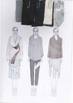 Fashion Sketchbook - fashion illustration & fabric swatches; fashion portfolio layout; fashion student work // Emily-Mei Cross