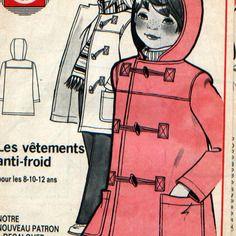 """Patron vintage 70's, duffle-coat, supplément à la revue """"chez nous""""."""