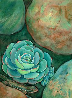 Southwest Lizard in Succulent Garden... Limited by CurioCabinet, $20.00  #art #southwest #succulents