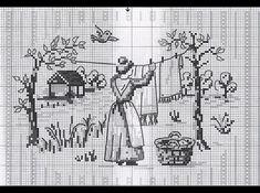 point de croix femme étendant le linge - cross stitch woman hanging out the washing
