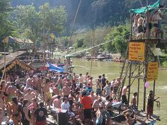 Tubing in Vang Vieng. Awesome bars all along the river.