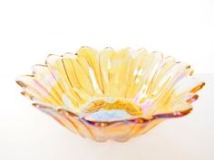 Vintage Carnival Glass Bowl Iridescent Golden Rainbow Flower Floral Serving Fruit Salad Collectible Bowl Colored Luster Candy Nut Dish Decor vintage glass bowl Carnival glass bowl fruit salad serving large candy nut dish round glassware collector lusterware colored glass bowl stylish home decor coffee table display colorful collectible marigold glass bowl flower trinket bowl iridescent bowl 19.95 USD #goriani