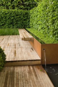 Timber bench, deck and water feature