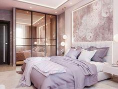 Gorgeous, feminine, modern bedroom design with lavender hues. Dream Bedroom, Home Bedroom, Bedroom Furniture, Bedroom Decor, Bedroom Ideas, Master Bedroom, Luxury Rooms, Luxurious Bedrooms, Modern Bedroom Design