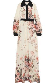 GIAMBATTISTA VALLI Floral-print silk-chiffon maxi dress. #giambattistavalli #cloth #dress
