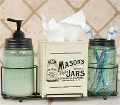 The Original Primitive Mason Jar Bathroom Caddy