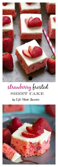 Strawberry Frosted Sheet Cake is made completely from scratch with no gelatin or cake mix & is bursting with lots of fresh strawberries & perfect for sharing at summer parties