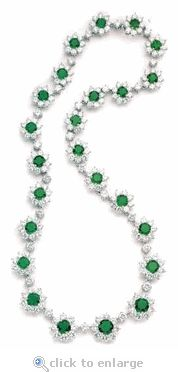 Cubic Zirconia Cluster Necklace Round Brilliant Emerald CZ 14K Gold By Ziamond.  The Franca Necklace features over 35 carats in total carat weight of the finest hand cut and hand polished original Russian formula cubic zirconia.  $16995 #ziamond #cubic zirconia #cz #necklace #cluster #jewelry #diamond #14kgold