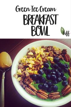 This smoothie bowl is delicious, creamy, and so easy to make! Takes 5 minutes! Not to mention it is healthy & nutritious enough to make for any meal!! YUM!  Green Ice Cream Breakfast Bowl https://healthy-happy-loved.com/green-ice-cream-breakfast-bowl/