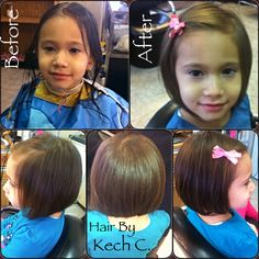 Here's one of the Most Beautiful Little girl I know .. Ms. Zaria .. She has a Very Very fine thin hair .. Mommy Finally had the Heart to let go of her long hair so I've given her from Long hair to a Short Bob w/ texture for movement & Softness  .. She's just Simply Adorable ☺️❤️ #HairByKechC #LoveShortHairOnLittleOnes #SimplyBeautiful❤️