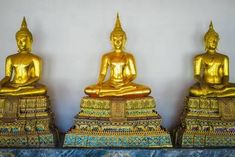 Photograph-Golden Buddha statues, Wat Pho (Temple of the Reclining Buddha), Bangkok, Thailand-Photograph printed in the USA Golden Buddha Statue, Buddha Statues, Reclining Buddha, Wat Pho, Framed Prints, Canvas Prints, Art Prints, Religious Icons, 500 Piece Puzzles