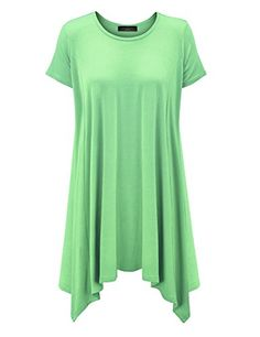3e39f54275b3d6 MBJ Womens Round Neck Short Sleeve Side Panel Oversized Loose Tunic Shirt  -- See this