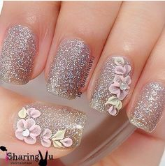 Sparkles with 3D nail art.