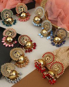 Bridal Jewellery Inspiration, Indian Bridal Jewelry Sets, Indian Jewelry Earrings, Fancy Earrings, Jewelry Design Earrings, Ear Jewelry, Antique Jewellery Designs, Fancy Jewellery, Stylish Jewelry