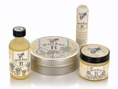BRAND -Worker B Beeswax Skincare All Natural Lotions and Balms with Bee Propolis Tincture, Beeswax, and Organic Oils http://www.worker-b.com/
