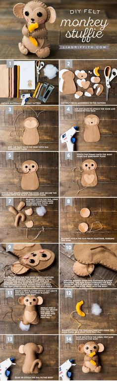 Sewing For Kids DIY Felt Monkey Stuffie Tutorial by MichaelsMakers Lia Griffith - This adorable DIY monkey stuffie with an easy step-by-step tutorial is the perfect afternoon crafting activity for your little ones and beginning sewers! Projects For Kids, Diy For Kids, Sewing Crafts, Sewing Projects, Diy Projects, Sewing Toys, Fabric Crafts, Felt Patterns, Loom Patterns