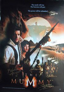 The MUMMY original 27x40 movie poster cast signed by Brendan Fraser, Rachel Weisz, John Hannah, Patricia Valesquez, Arnold Vosloo, Oded Fehr, Bernard Fox & director Stephen Sommers.