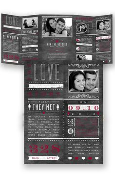 Chalkboard Typography Wedding Invitation in Apple by David's Bridal