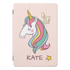 Monogram. Cute Doodle Flying Rainbow Unicorn iPad Pro Cover - girly gifts special unique gift idea custom