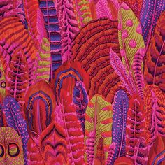 1/2 Yard Feathers Red Philip Jacobs fabric PJ055