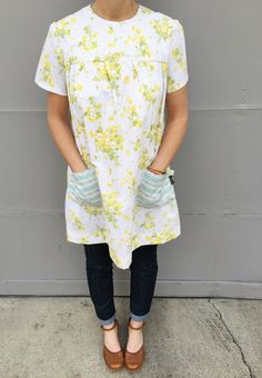 Vintage sheet dress made from vintage linens. SugarBeans.org