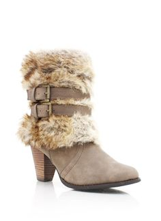 Buckled Faux Fur Cuff Bootie $7.45
