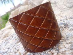 Leather Bracelet.Brown Leather Bangle/Cuff Bracelet . by BOVETTA, $24.00