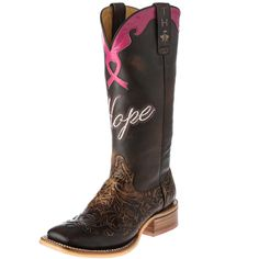 Women's Tin Haul Brown Breast Cancer Awareness Cowgirl Boots Item # 14-021-0007-1222