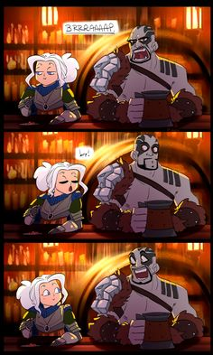 "laurindoodles: ""Can't remember which early ep of Critical Role it's from but on the stream Travis belched pretty much in Ashley's direction, and she responded with her own adorable burp right in front of him. I LOVE Pike and Grog. Critical Role Characters, Critical Role Fan Art, Dnd Characters, Critical Role Comic, Dungeons And Dragons Memes, Dungeons And Dragons Homebrew, Character Concept, Character Art, Character Design"