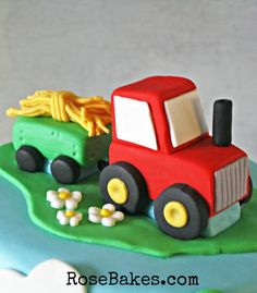 How to Make a Tractor Cake Topper - Rose Bakes Number Cake Toppers, Fondant Cake Toppers, Fondant Cakes, Cupcake Cakes, Cupcakes, Shoe Cakes, Tractor Birthday Cakes, Farm Birthday, Tractor Cakes