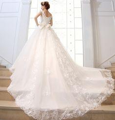 Princess bride slit neckline lace big train wedding dress formal dress new arrival luxury 2013 bandage