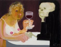 From New Museum, Nicole Eisenman, Death and the Maiden Oil on canvas, 14 × 18 in Nyc Art, New Museum, Artwork Images, Heart Art, Contemporary Paintings, Art World, American Art, Art Inspo, Oil On Canvas