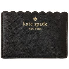 Kate Spade New York Cape Drive Card Holder (Black/Bright White) Wallet ($55) ❤ liked on Polyvore featuring bags, wallets, leather credit card holder wallet, genuine leather bag, woven leather bag, card case wallet and kate spade