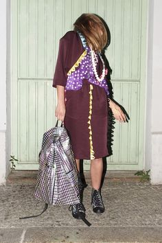 """Dino"" jacket & skirt with ""Fun Top"" in purple-glow"