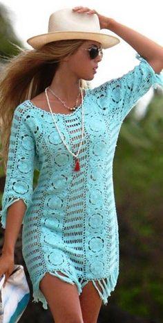 Letarte 2013 Salt Water Taffy Mint Crochet Dress - Dress - Cover-ups Crochet Shirt, Knit Crochet, Crochet Tattoo, Crotchet, Unique Crochet, Crochet Clothes, Pulls, Hippie Boho, Bohemian