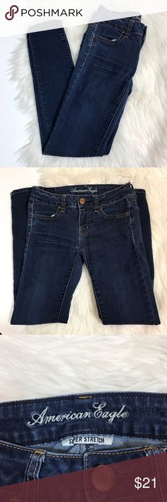AE Jegging Jeans American eagle size 0 SHORT dark wash jegging jeans. Waist is 12.5 across, rise is 6.5, leg opening is 4.5 across, and inseam is 27. Some slight puckering (last pic) but otherwise in good condition. These are super comfy and very flattering! Open to offers and 30% off bundles! American Eagle Outfitters Jeans Skinny
