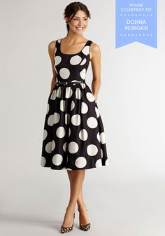 All Amour Reason Dress. From its bold polka-dotted pattern to its belted, vintage-inspired silhouette, this black-and-white dress touts plenty of pizazz!  #modcloth