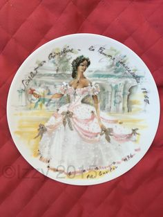Scarlet 1865 Women of the Century Plate Limoges France - pinned by pin4etsy.com