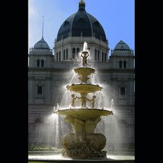 The famous fountain outside the entrance to the Exhibition Buildings, Carlton. Melbourne. #Australia. World Heritage listed