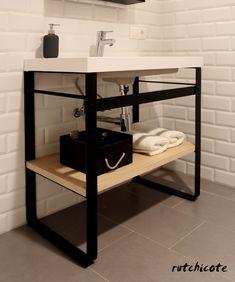 Diy Bathroom Reno, Bathroom Interior, Small Bathroom, Steel Furniture, Diy Furniture, Minimal House Design, Black Rooms, Home Gadgets, New House Plans